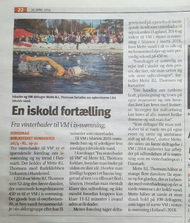 2016-04-20 Halsnæs Avis omtale af foredraget Fra vinterbader til VM