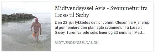 Johnni Olesen svømmer fra Læsø til Sæby
